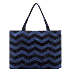 Chevron3 Black Marble & Blue Stone Medium Tote Bag by trendistuff