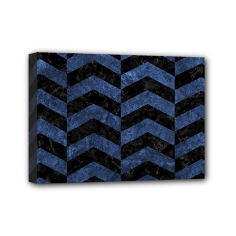 Chevron2 Black Marble & Blue Stone Mini Canvas 7  X 5  (stretched)
