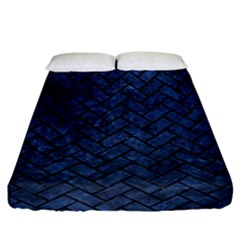 Brick2 Black Marble & Blue Stone (r) Fitted Sheet (california King Size) by trendistuff