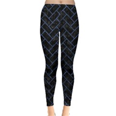 Brick2 Black Marble & Blue Stone Leggings  by trendistuff