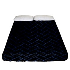 Brick2 Black Marble & Blue Stone Fitted Sheet (california King Size) by trendistuff