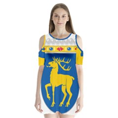 Coat Of Arms Of Aland Shoulder Cutout Velvet  One Piece by abbeyz71
