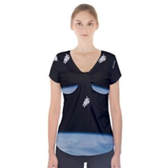 Amazing Stunning Astronaut Amazed Short Sleeve Front Detail Top by Simbadda