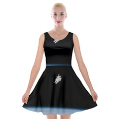 Amazing Stunning Astronaut Amazed Velvet Skater Dress by Simbadda