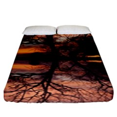 Aurora Sunset Sun Landscape Fitted Sheet (king Size) by Simbadda