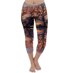 Aurora Sunset Sun Landscape Capri Winter Leggings  by Simbadda