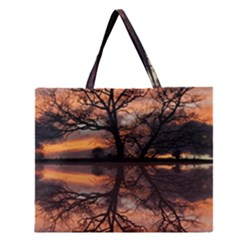 Aurora Sunset Sun Landscape Zipper Large Tote Bag by Simbadda