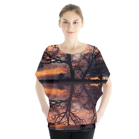 Aurora Sunset Sun Landscape Blouse by Simbadda