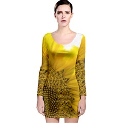 Plant Nature Leaf Flower Season Long Sleeve Bodycon Dress by Simbadda