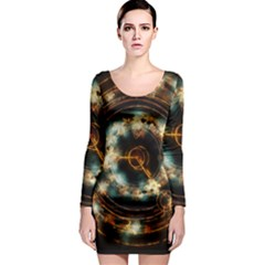 Science Fiction Energy Background Long Sleeve Bodycon Dress by Simbadda