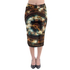 Science Fiction Energy Background Midi Pencil Skirt by Simbadda