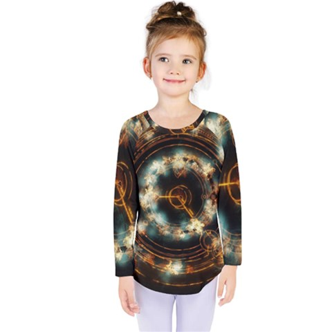 Science Fiction Energy Background Kids  Long Sleeve Tee by Simbadda