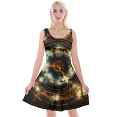 Science Fiction Energy Background Reversible Velvet Sleeveless Dress