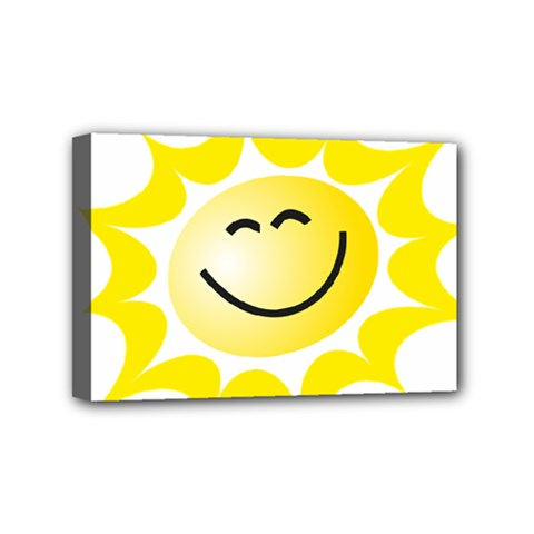 The Sun A Smile The Rays Yellow Mini Canvas 6  X 4  by Simbadda