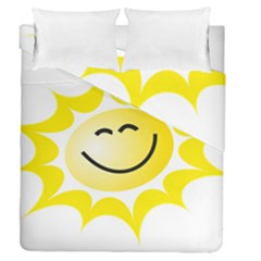 The Sun A Smile The Rays Yellow Duvet Cover Double Side (queen Size)