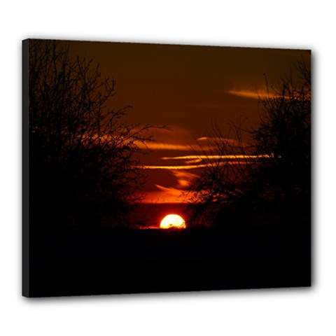 Sunset Sun Fireball Setting Sun Canvas 24  X 20  by Simbadda