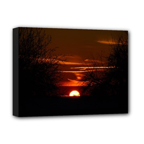 Sunset Sun Fireball Setting Sun Deluxe Canvas 16  X 12