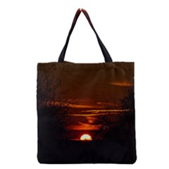 Sunset Sun Fireball Setting Sun Grocery Tote Bag by Simbadda