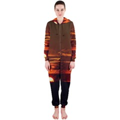 Sunset Sun Fireball Setting Sun Hooded Jumpsuit (ladies)  by Simbadda
