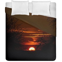 Sunset Sun Fireball Setting Sun Duvet Cover Double Side (california King Size) by Simbadda
