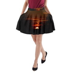 Sunset Sun Fireball Setting Sun A Line Pocket Skirt by Simbadda