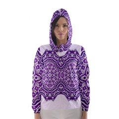 Mandala Purple Mandalas Balance Hooded Wind Breaker (women) by Simbadda