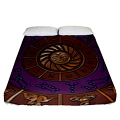 Zodiak Zodiac Sign Metallizer Art Fitted Sheet (queen Size) by Simbadda