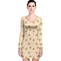 Pattern Gingerbread Star Long Sleeve Velvet Bodycon Dress