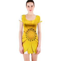 Transparent Flower Summer Yellow Short Sleeve Bodycon Dress by Simbadda