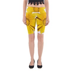 Transparent Flower Summer Yellow Yoga Cropped Leggings by Simbadda