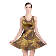Leaves Autumn Texture Brown Reversible Skater Dress