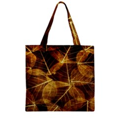 Leaves Autumn Texture Brown Zipper Grocery Tote Bag by Simbadda