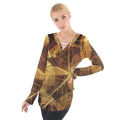 Leaves Autumn Texture Brown Women s Tie Up Tee by Simbadda