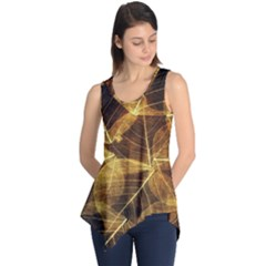 Leaves Autumn Texture Brown Sleeveless Tunic by Simbadda