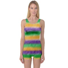 Mardi Gras Strip Tie Die One Piece Boyleg Swimsuit by PhotoNOLA
