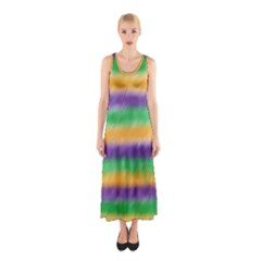 Mardi Gras Strip Tie Die Sleeveless Maxi Dress by PhotoNOLA