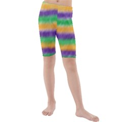 Mardi Gras Strip Tie Die Kids  Mid Length Swim Shorts by PhotoNOLA