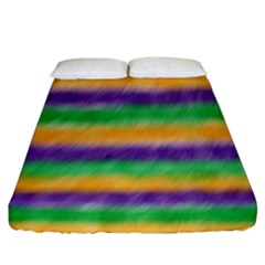 Mardi Gras Strip Tie Die Fitted Sheet (california King Size) by PhotoNOLA