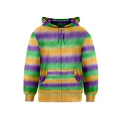 Mardi Gras Strip Tie Die Kids  Zipper Hoodie by PhotoNOLA