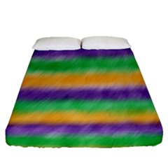 Mardi Gras Strip Tie Die Fitted Sheet (queen Size) by PhotoNOLA