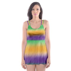 Mardi Gras Strip Tie Die Skater Dress Swimsuit by PhotoNOLA