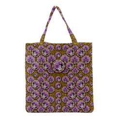 Gold Plates With Magic Flowers Raining Down Grocery Tote Bag by pepitasart