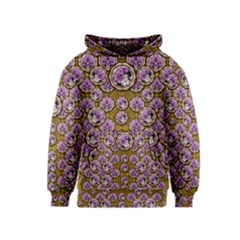 Gold Plates With Magic Flowers Raining Down Kids  Pullover Hoodie by pepitasart