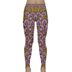 Gold Plates With Magic Flowers Raining Down Classic Yoga Leggings by pepitasart