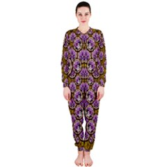 Gold Plates With Magic Flowers Raining Down Onepiece Jumpsuit (ladies)  by pepitasart