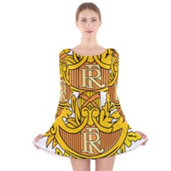 National Emblem Of France  Long Sleeve Velvet Skater Dress by abbeyz71