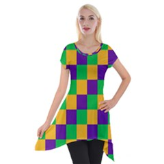 Mardi Gras Checkers Short Sleeve Side Drop Tunic by PhotoNOLA