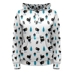 Bird Beans Leaf Black Blue Women s Pullover Hoodie