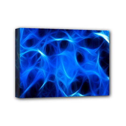 Blue Flame Light Black Mini Canvas 7  X 5