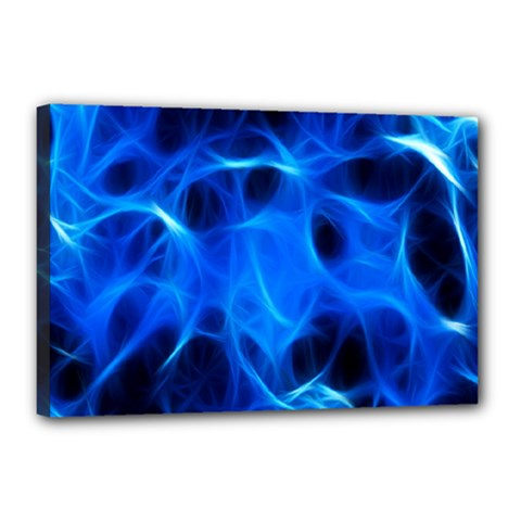 Blue Flame Light Black Canvas 18  X 12  by Alisyart